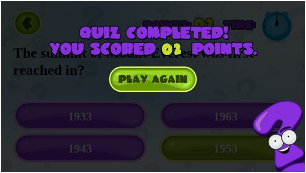 Quiz completed screen
