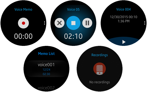 (Circle) Voice Memo screens