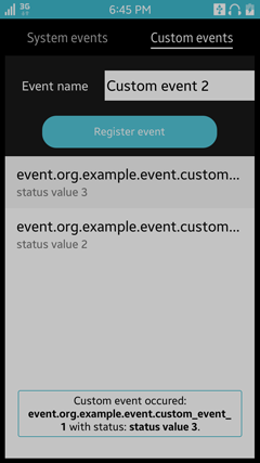 Received custom event view