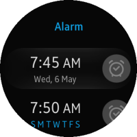 Alarm list screen