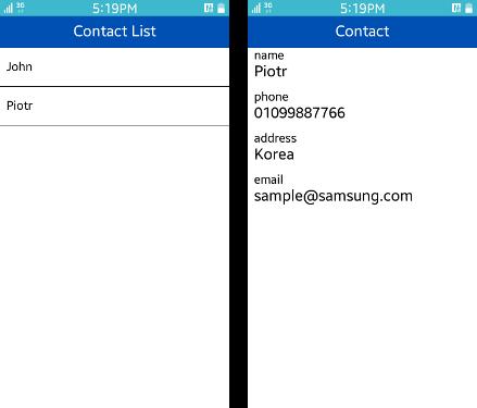 Contact List screens