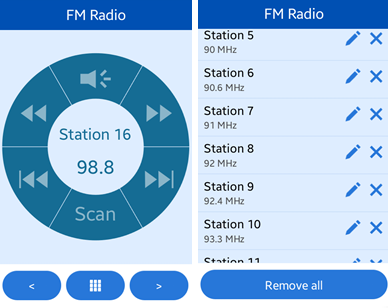 FM Radio screens