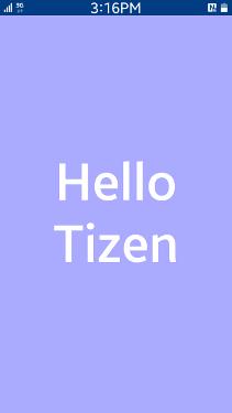 Hello Tizen screen