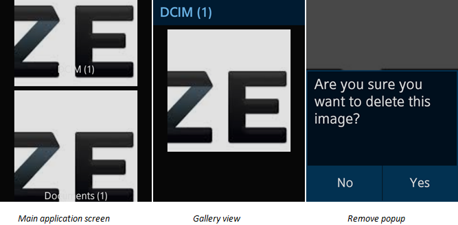 Mini Gallery screens