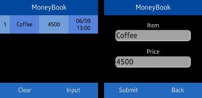 Money Book screens