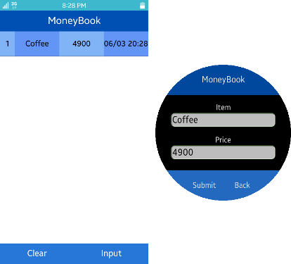 Money Book screens