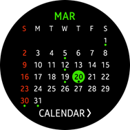 Schedule Monthly widget screen