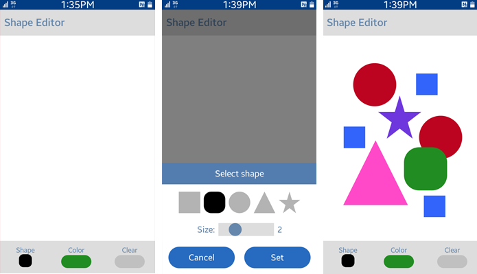 Shape Editor screens