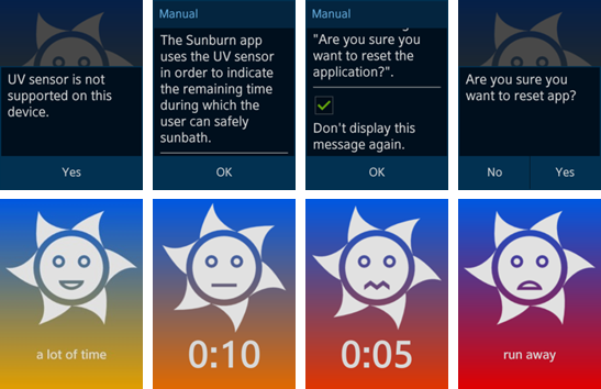 Sunburn Monitor screens