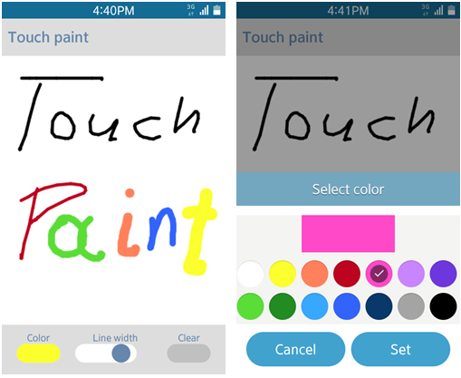 Touch Paint screen