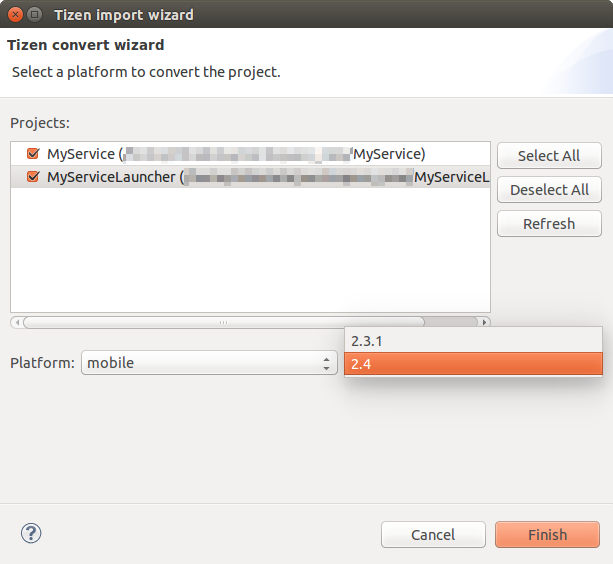 Screenshot of a dialog window for Tizen project conversion.