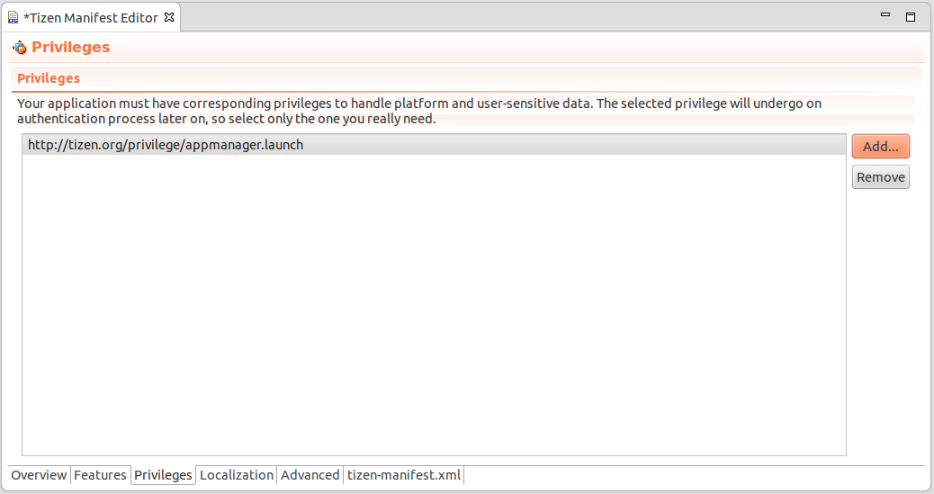 Setting privilege for MyServiceLauncher app using Tizen Manifest Editor