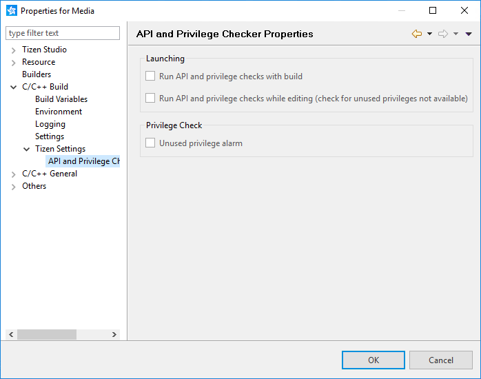 API Checker settings