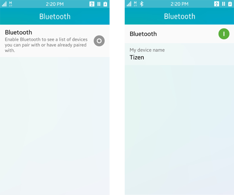 Bluetooth activation settings application (off screen on the left and on screen on the right)