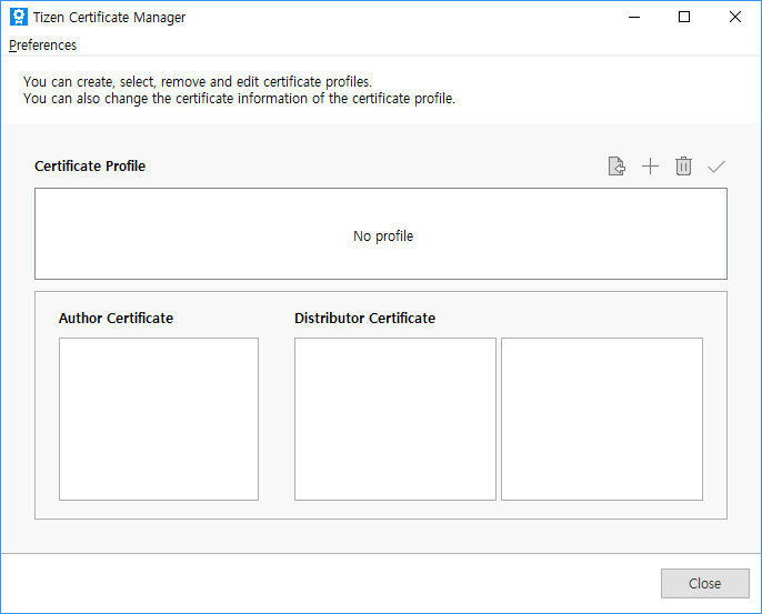Certificate Manager Tizen Developers