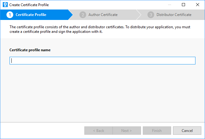 Certificate profile creation wizard
