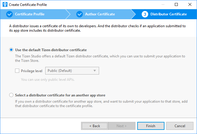Working with the certificate profile tizen developers distributor certificate altavistaventures Choice Image