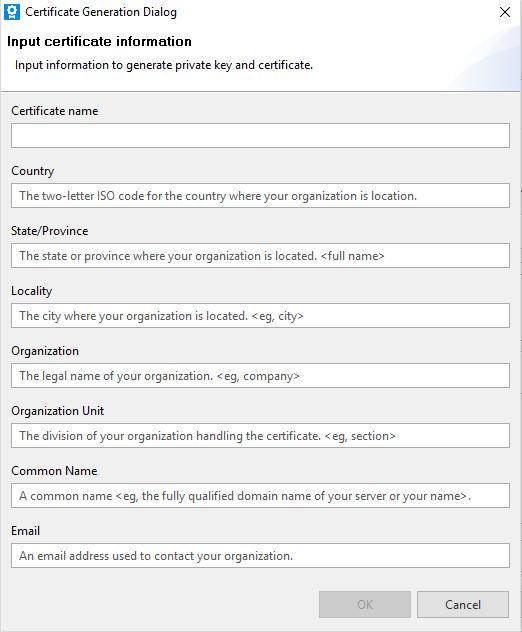 Certificate Generation Dialog
