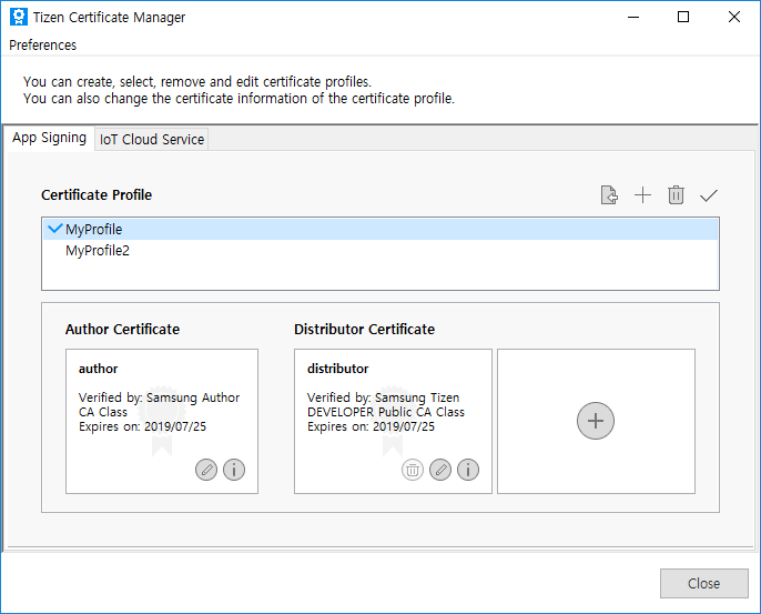 Tizen Certificate Manager with two profile
