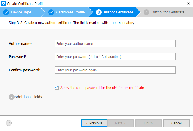Create a new author certificate