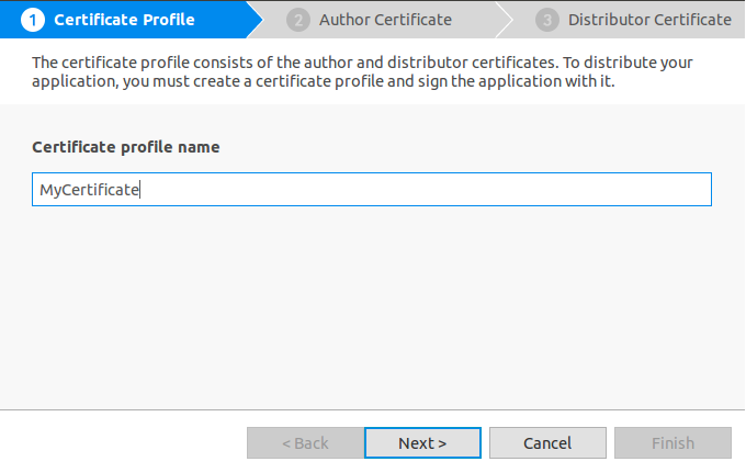 Enter certificate name
