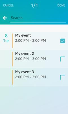 Selecting a calendar event