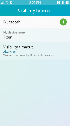Showing Bluetooth visibility settings