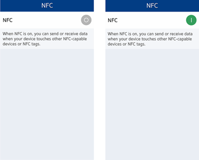 Showing NFC settings