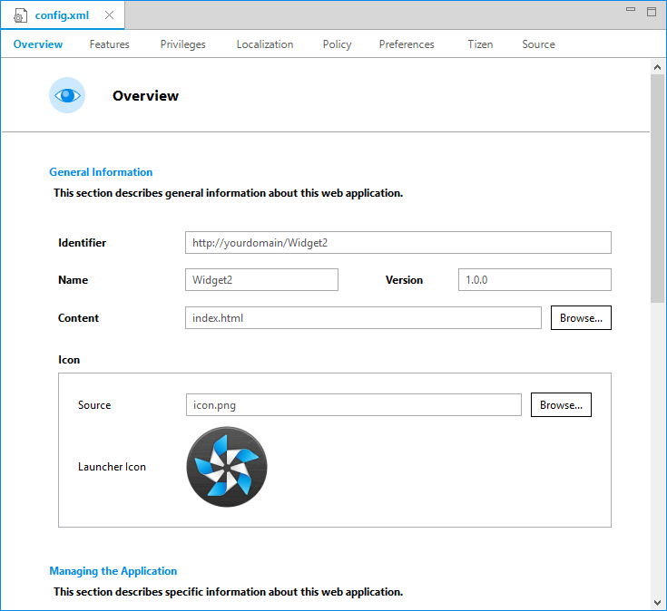 Configuring Applications | Tizen Developers