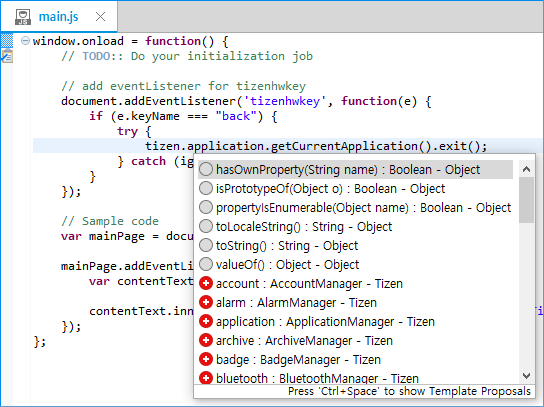 Content assist in the JavaScript editor