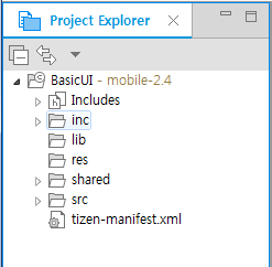 Application in the Project Explorer