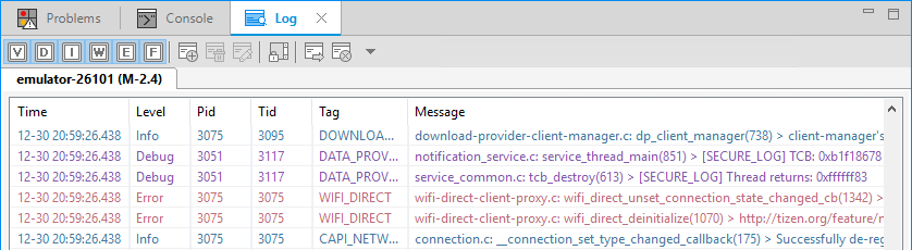 Messages in the Log view