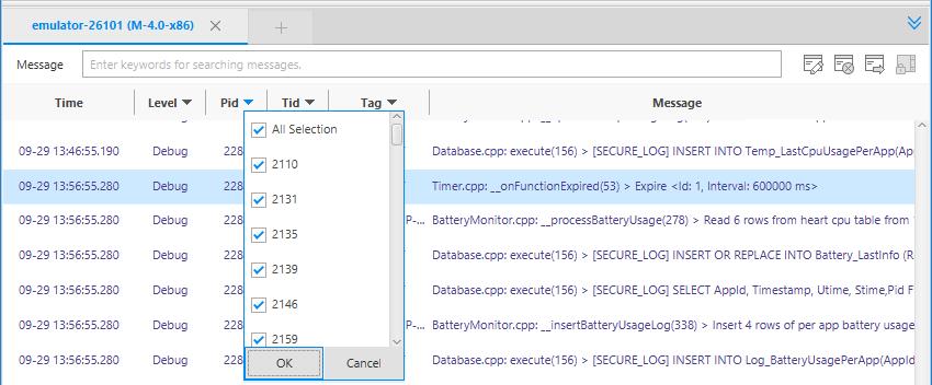 Keyword filtering option
