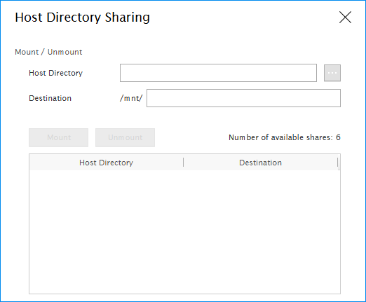 Host directory sharing popup