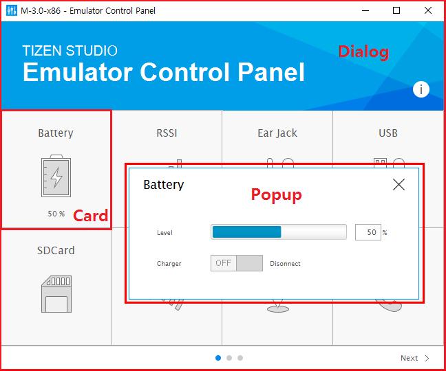 Emulator Control Panel layers