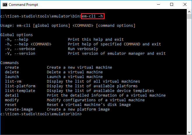 Emulator Manager command line
