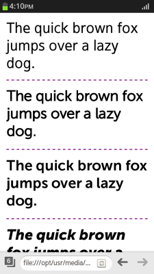 Implementing the @font-face rules (in mobile applications only)