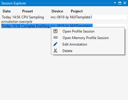 Session entry Context menu