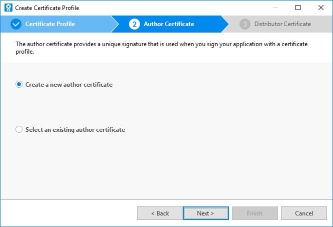 Create an author certificate