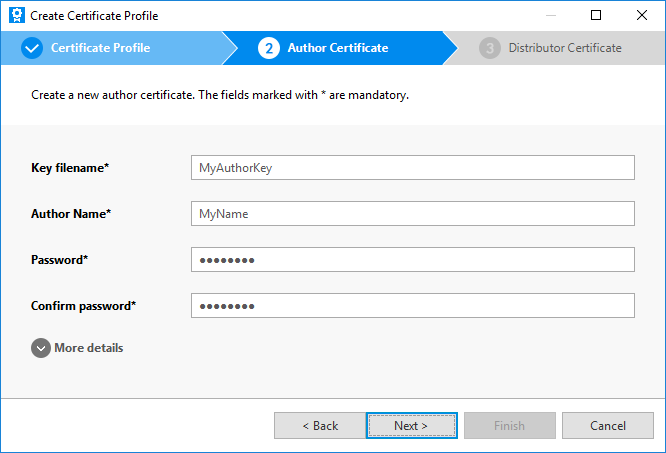 Add author certificate details