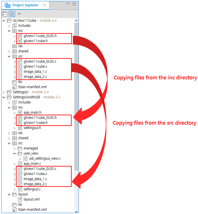 Copying files from the GLView11Cube project