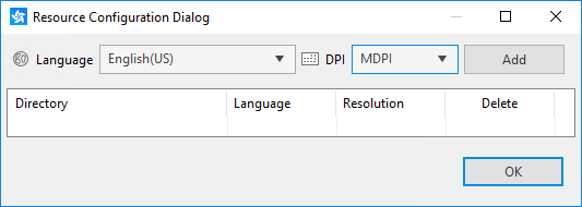 Resource configuration dialog