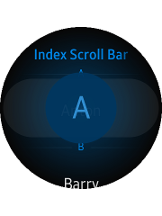 Index scroll bar component on a circular device