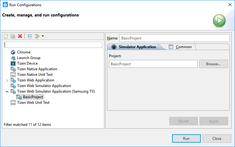 Run Configurations window