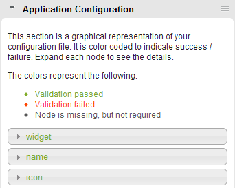 Application Configuration panel