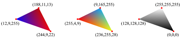 Color-interpolated triangles