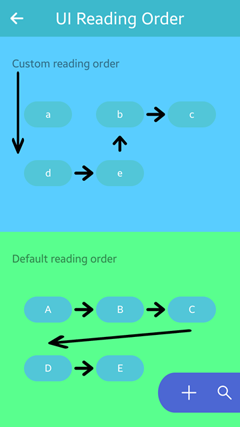 UI reading order in the UI Components sample