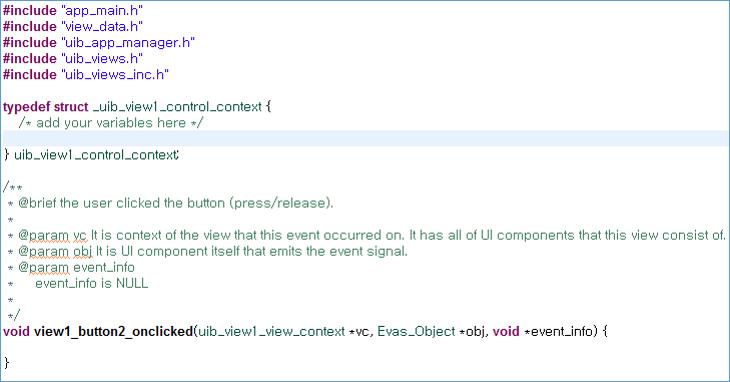 Event handler stub code