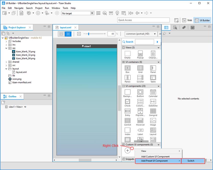 Add preset UI Component