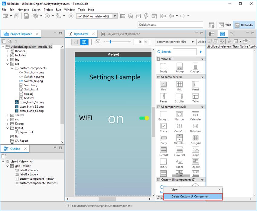 Delete custom component context menu